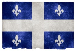 Grungy Flag of Quebec on Vintage Paper