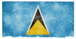 Grungy Flag of Saint Lucia on Vintage Paper