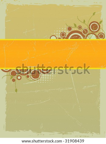 Grungy Framed Floral Raster Background