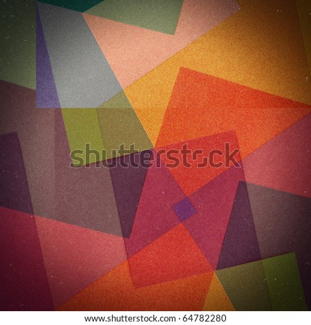 Grungy, grainy & dusty vignetted abstract color background, made of intersecting geometric figures and lines, vintage paper texture in square shape