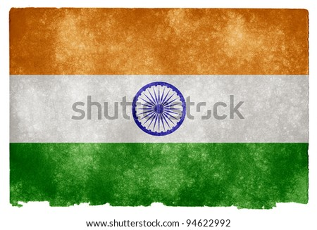 Grungy Indian Flag on Vintage Paper