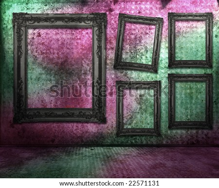 Grungy interior, frames on the wall, similar available in my portfolio - stock photo