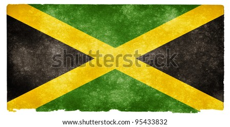 Grungy Jamaican Flag on Vintage Paper