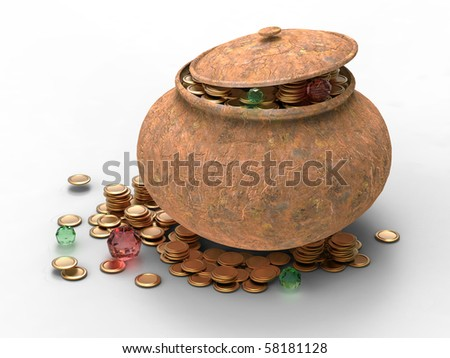 grungy jar full of treasures isolated