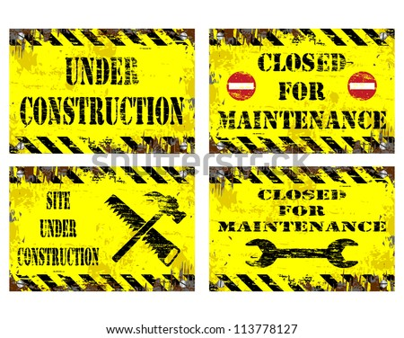 Grungy metal sign illustrations. Under construction, and Closed for maintenance - stock photo