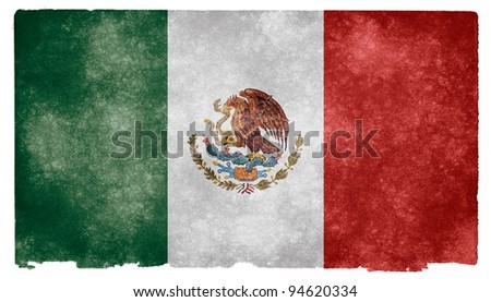 Grungy Mexican Flag on Vintage Paper