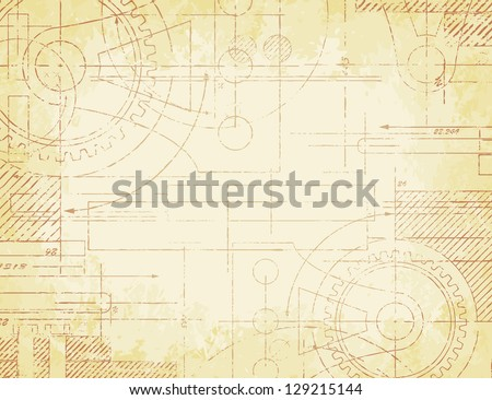 Grungy old technical blueprint illustration on faded paper for Where to buy blueprint paper