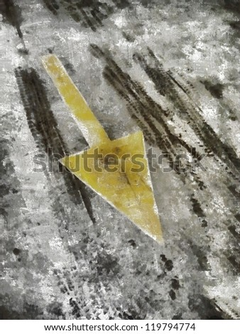 Grungy Painted Background with Pointing Arrow