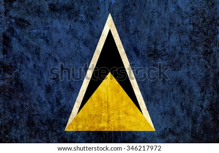 Grungy paper flag of St Lucia #346217972