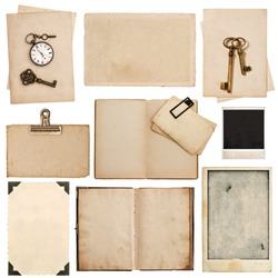 Grungy paper sheets with clock and key isolated on white background. Used cardboard texture