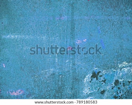 Grungy peeling dark slate gray, light sky blue and steel blue painted rough wall texture with scratches #789180583