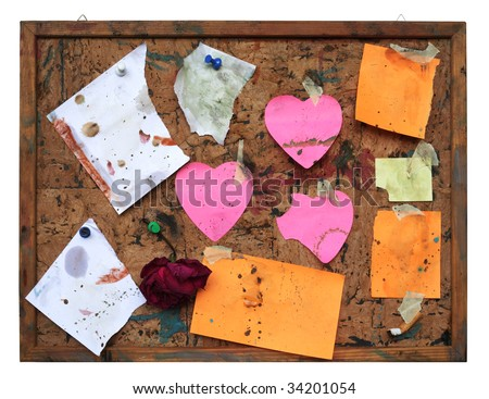 stock photo : Grungy pin board, worn and dirty,isolated on white background,