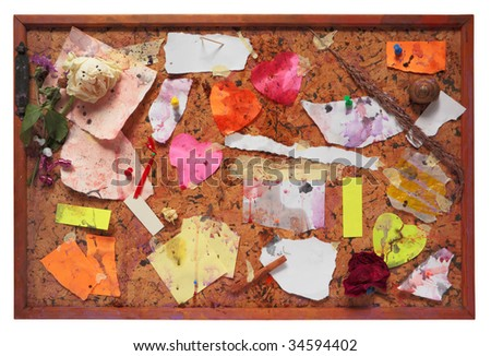 Grungy pinboard, worn and dirty,isolated on white background,free copy space