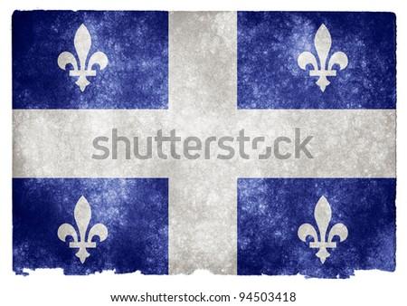 Grungy Quebec Flag on Vintage Paper