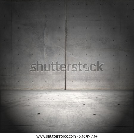 Grungy raw concrete wall and floor
