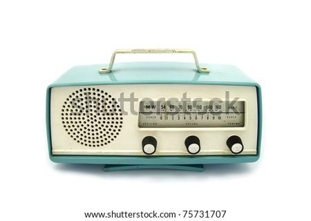 grungy retro radio on  isolated white background