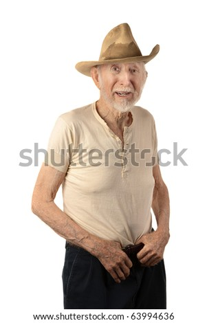 Grungy senior cowboy with a sweat-stained hat