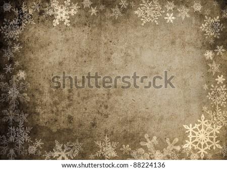 Grungy snowflakes background - stock photo