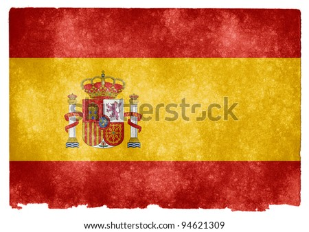 Grungy Spanish Flag on Vintage Paper