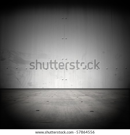 Grungy steel barrier and floor