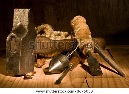 Grungy still-life of vintage and rusty tools - stock photo