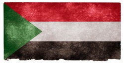 Grungy Sudanese Flag on Vintage Paper