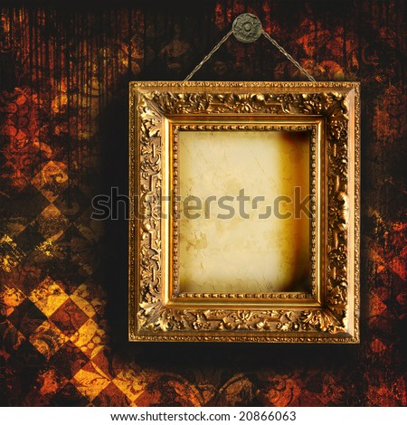 Grungy tattered wallpaper with empty picture frame