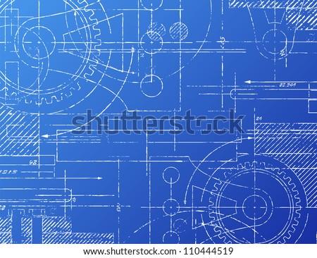Grungy technical blueprint illustration on blue background Photo stock ©