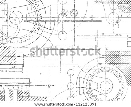 Grungy technical drawing illustration of gears and engineering parts