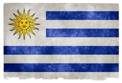Grungy Uruguayan Flag on Vintage Paper