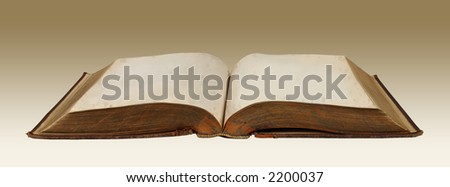 Grungy vintage book with blank pages (With Clipping Path)