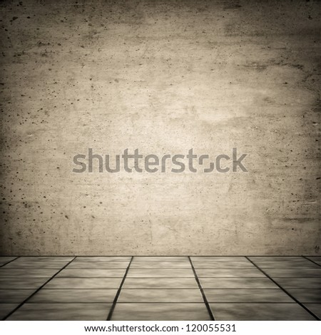 Grungy vintage look of ceramic floor with concrete wall for background