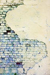 Grungy wall with bricks