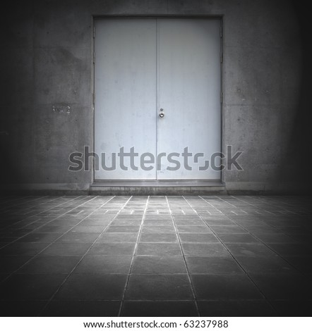 Grungy wall with door