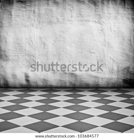 grungy white vintage interior with tiled floor artistic shadows added - stock photo