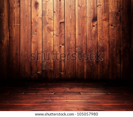 Grungy wooden room with a spot light #105057980