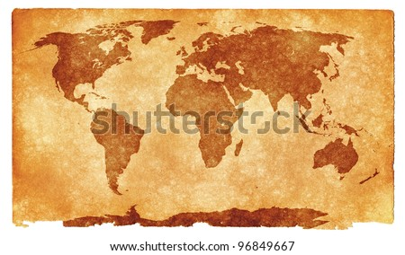 Grungy World Map on Vintage Paper (with sepia toning for a more aged look) - stock photo