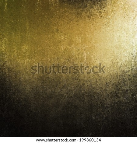 grungy yellow black background with grunge texture border, gold corner spotlight or sunshine pattern on wall. vintage gold and black frame design, old distressed shabby background layout