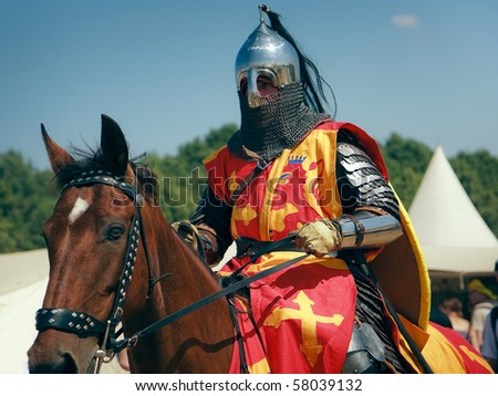 Medieval Warrior Riding Horse Tattoos on Stock Photo   Grunwald   July 17  Medieval Knight On A Brown Horse