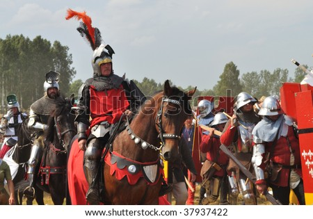 GRUNWALD - JULY 18: Participants of historical reenactment 1410 Battle of Grunwald, Kingdom of Poland and the Grand Duchy of Lithuania against the Teutonic Order July 18, 2009 in Grunwald, Poland