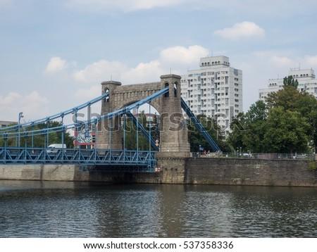 Grunwaldzki Bridge is a suspension bridge over the River Oder in Wroclaw, Poland, built over the years 1908-1910. #537358336