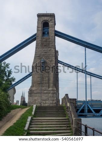 Grunwaldzki Bridge is a suspension bridge over the River Oder in Wroclaw, Poland, built over the years 1908-1910. #540561697