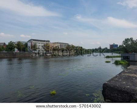 Grunwaldzki Bridge is a suspension bridge over the River Oder in Wroclaw, Poland, built over the years 1908-1910. #570143002