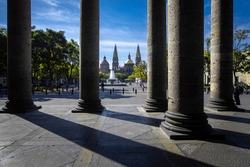GUADALAJARA, JALISCO, MEXICO - DEX 8, 2020: Cathedral square with colums