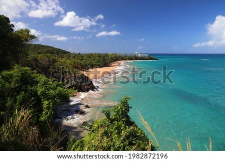 Guadeloupe beach of Basse-Terre island. Caribbean vacation landscape. Grand Bas Vent Beach (Plage du Grand Bas Vent). Foto stock ©
