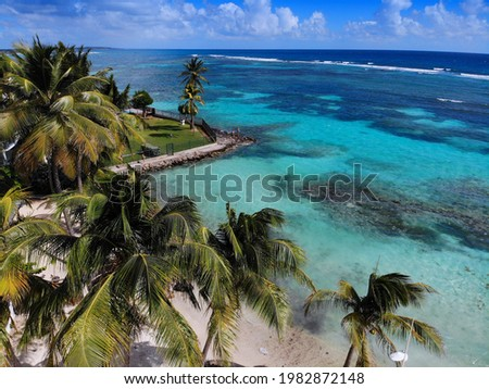 Guadeloupe coral reef drone aerial view. Sainte Anne Beach (Grande-Terre island). Foto stock ©