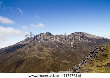 Guagua Pichincha volcano nearby Quito, Ecuador with blue skyes