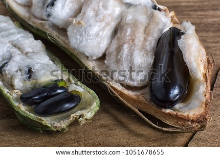 guama also known as ice cream beans, mountain and amazon varieties in Ecuador Stock photo ©