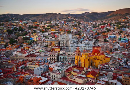 Guanajuato after sunset, Mexico.