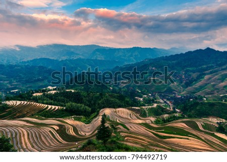 Guangxi Longji terraced scenery #794492719